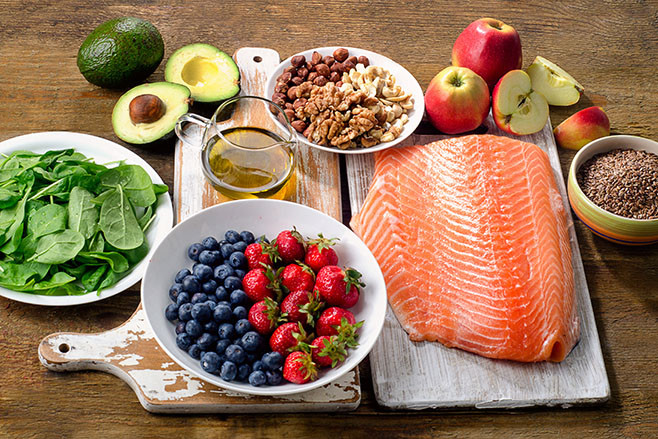 Foods for healthy Heart.  Diet eating concept