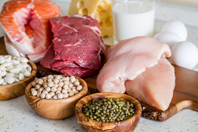 Selection of protein sources in kitchen background, closeup