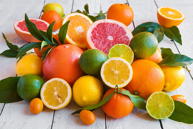 Various citrus fruits (orange, grapeftuit, lemon, mandarine, lim