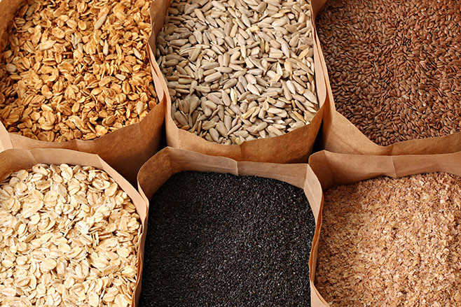 Whole grains, oats, flax, poppy, wheatgerm, granola, sunflower seeds.