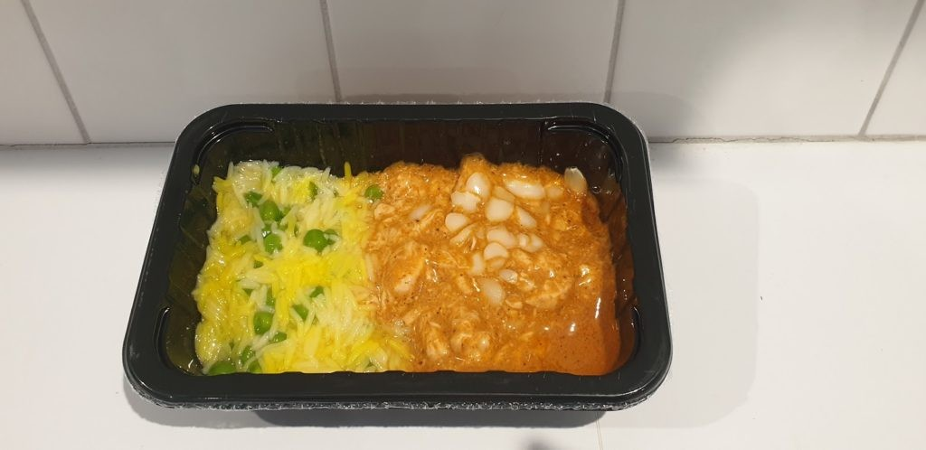 butter chicken with saffron pilaf before