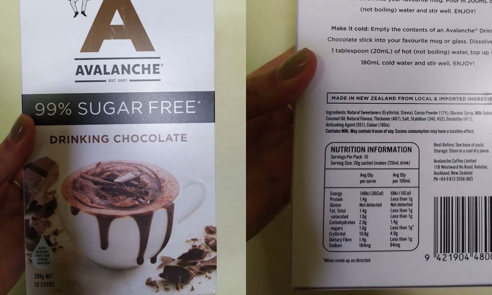 Avalanche Drinking Chocolate 99% Sugar Free