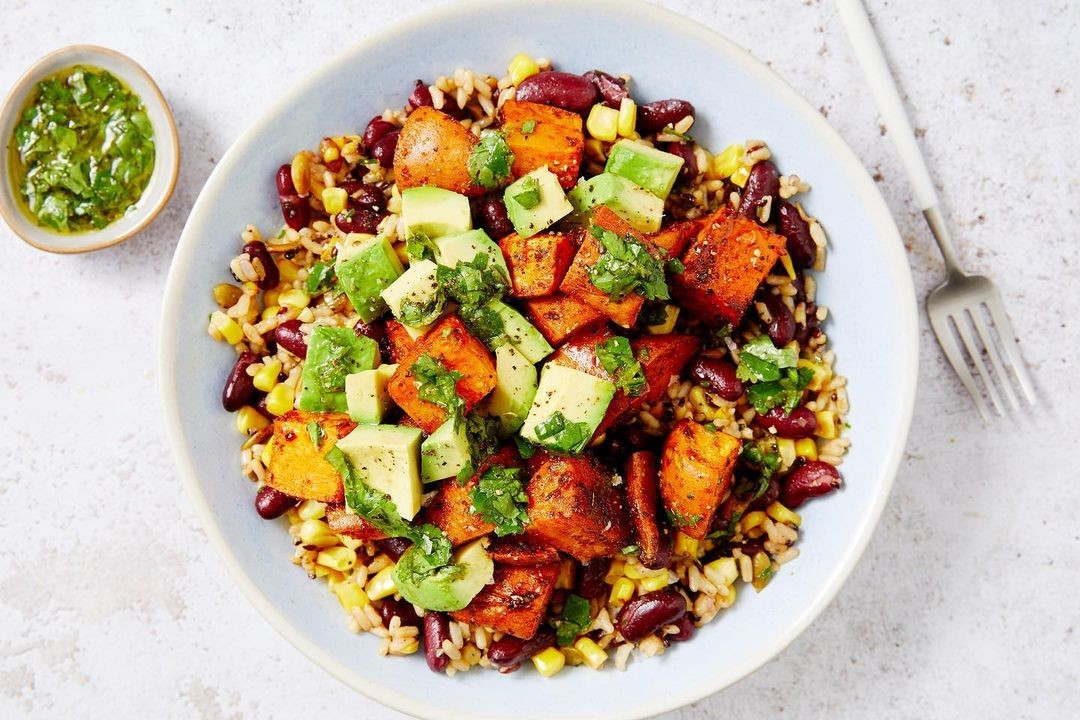 Marleyspoon Sweet Potato-Rice Bowl with Lime Dressing and Avocado
