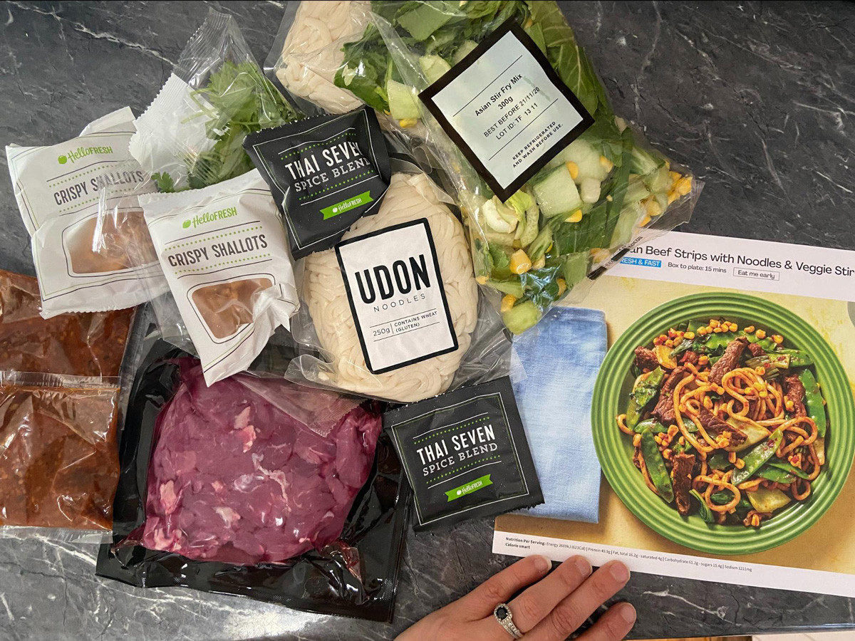 Ingredients for HelloFresh Asian Beef Strips with Noodles & Veggie Sirfry