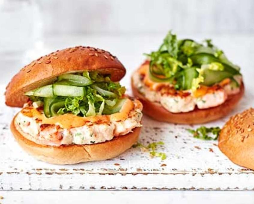 prawn salmon burger