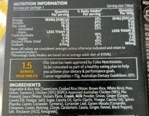Pea protein on the ingredients list of Coles PerForm Meals.