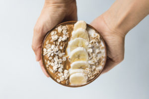 Oats with peanut butter and banana