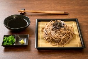 chilled soba noodles with green onions, wasabi and dipping sauce