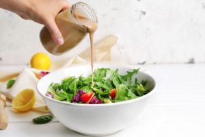 tahini dressing on a salad