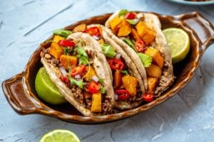 beef and sweet potato tacos