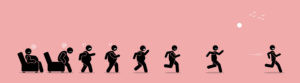 Overweight man getting up, running, and become thin transformation. Vector artwork concept shows a stage by stage of an obese man turning himself into a healthy body by running.