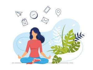 stress management and relapse prevention. women meditating and listening to music