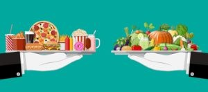 western diet is high in saturated fats and low in fibre whereas mediterranean diet prioritises healthy fats and fibre-rich fruit, vegetables, wholegrains, legumes and beans.