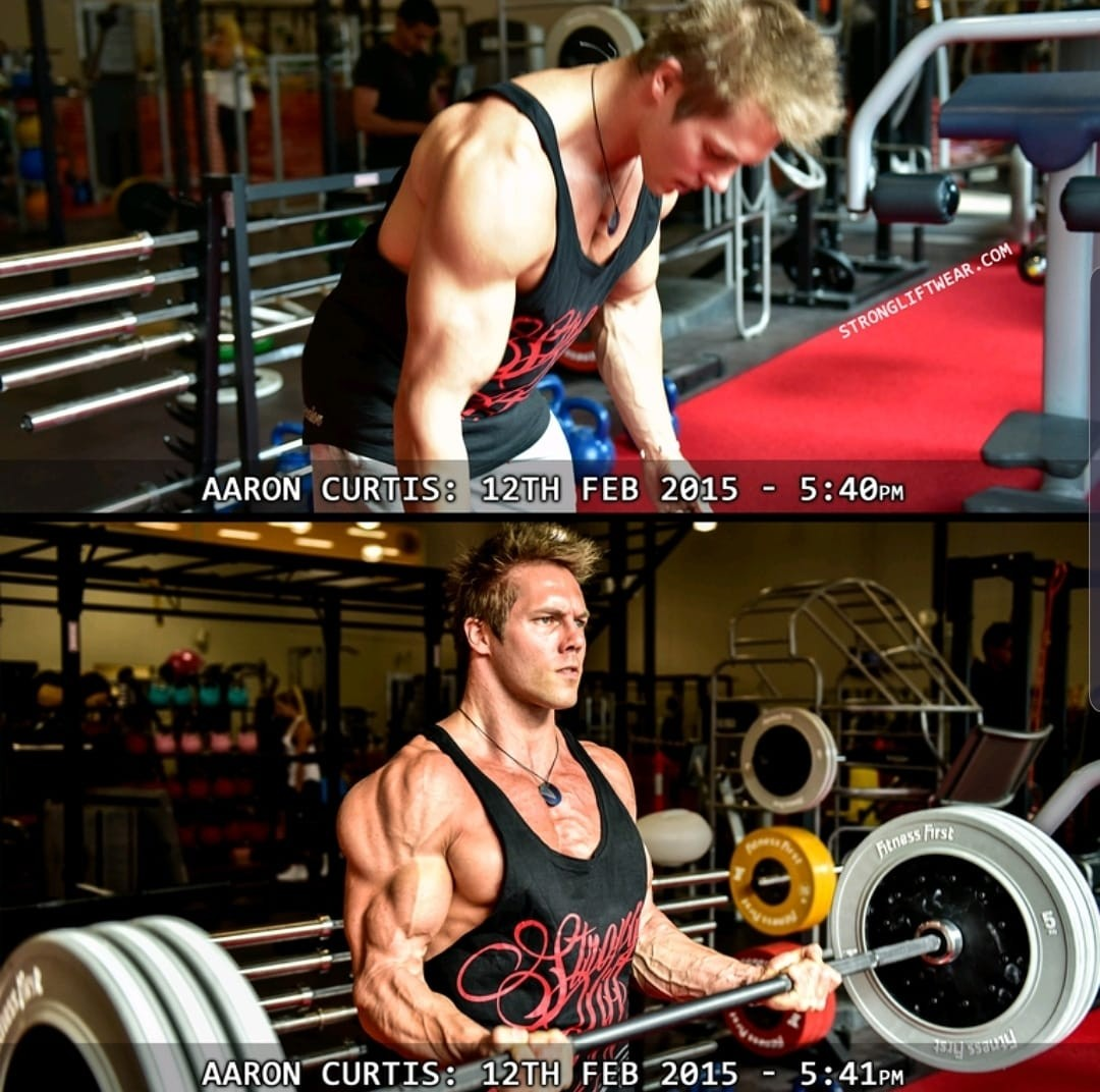 Aaron Curtis before and after Flexed