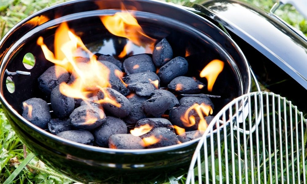 setting up the charcoal grill